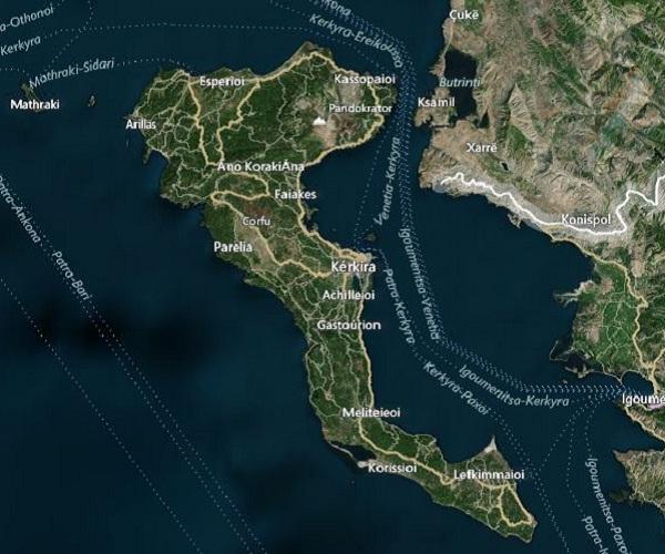 Corfu Landkaart - Corfu Map : Plattegrond van Korfoe, satellietfoto ...